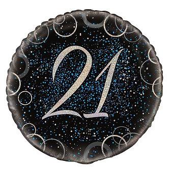 18IN BLUE PRISMATIC 21ST FOIL BALLOON