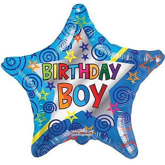 18IN BIRTHDAY BOY STAR FOIL BALLOON