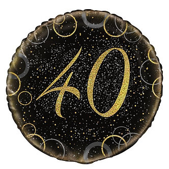 18IN GOLD PRISMATIC 40TH FOIL BALLOON