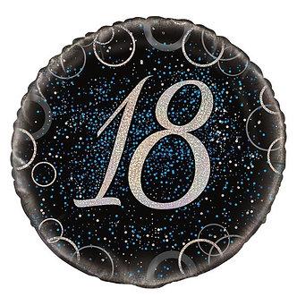 18IN BLUE PRISMATIC 18TH FOIL BALLOON