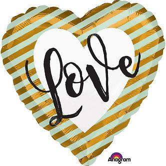 WEDDING LOVE STRIPES 18IN FOIL
