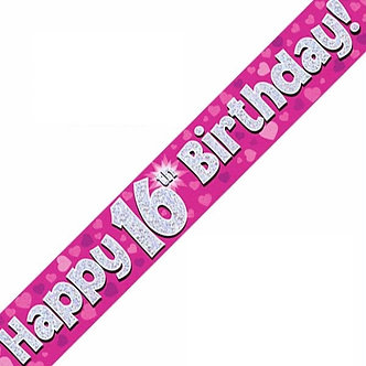 9FT 16TH BIRTHDAY PINK BANNER