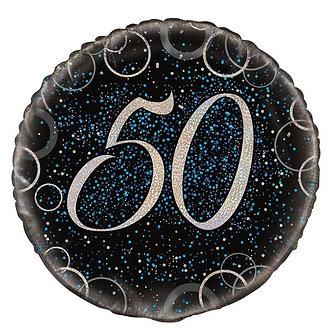 18IN BLUE PRISMATIC 50TH FOIL BALLOON