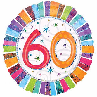 18IN RADIANT 60TH B/DAY FOIL BALLOON