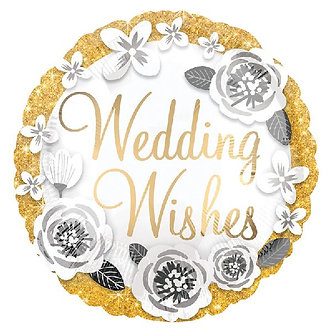 18IN WEDDING WISHES GOLD & SILVER FOIL