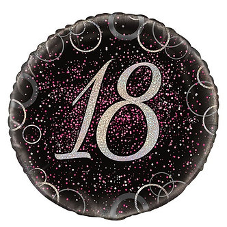 18IN PINK PRISMATIC 18TH FOIL BALLOON