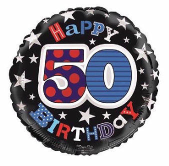 50TH B/DAY MALE 18IN FOIL BALLOON