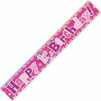 12FT 1ST B/DAY PINK PRISMATIC BANNER