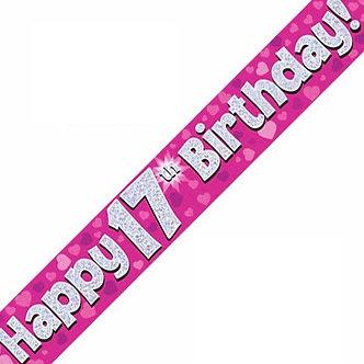 9FT 17TH BIRTHDAY PINK BANNER