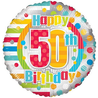 18IN UNISEX HAPPY 50TH BIRTHDAY FOIL