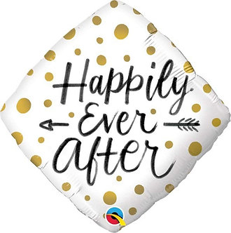 HAPPILY EVER AFTER GOLD DOTS 18IN FOIL BALLOO