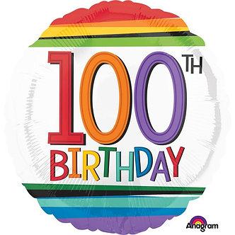 RAINBOW 100TH BIRTHDAY FOIL BALLOON