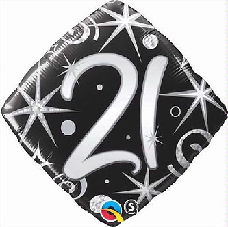 21ST B/DAY DIAMOND 18IN FOIL BALLOON
