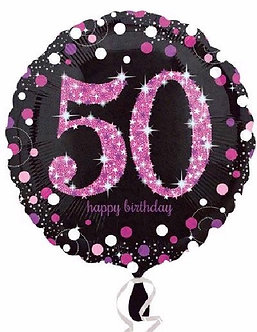50TH PINK SPARKLES 18IN FOIL BALLOON