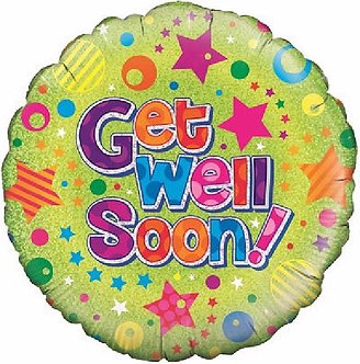 GET WELL DOTS & STARS 18IN FOIL