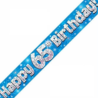 9FT 65TH BIRTHDAY BLUE BANNER