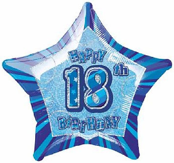 BLUE GLITZ 18TH 20IN FOIL BALLOON