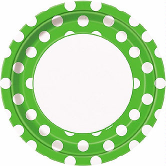 8PK 9IN LIME GREEN DOTS PLATES