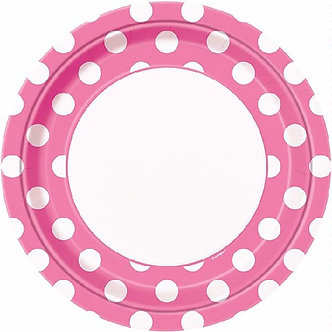 8PK 9IN HOT PINK DOTS PLATES