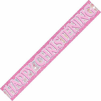 12FT PINK CHRISTENING PRISMATIC BANNER