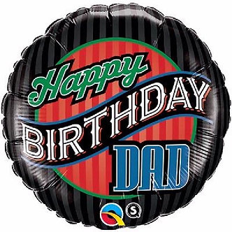 B/DAY DAD STRIPES 18IN FOIL BALLOON