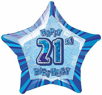 BLUE GLITZ 21ST 20IN FOIL BALLOON