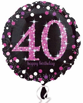 40TH PINK SPARKLES 18IN FOIL BALLOON