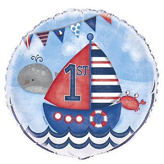 18IN NAUTICAL 1ST B/DAY FOIL BALLOON