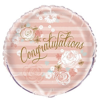 18IN GOLD/PINK CONGRATS FOIL BALLOON