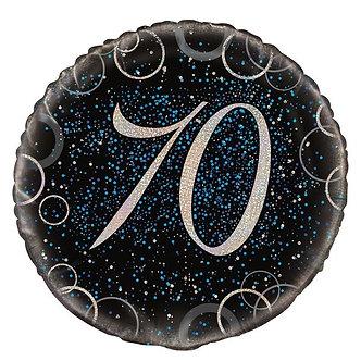 18IN BLUE PRISMATIC 70TH FOIL BALLOON