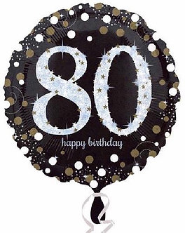 80TH GOLD SPARKLES 18IN FOIL
