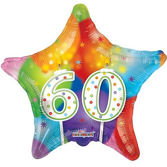 18IN STAR 60TH BIRTHDAY CANDLES FOIL