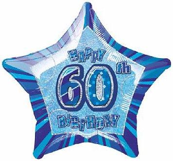 BLUE GLITZ 60TH 20IN FOIL BALLOON