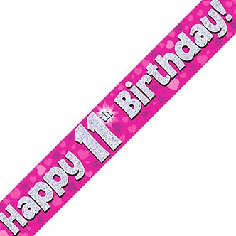 9FT 11TH BIRTHDAY PINK BANNER