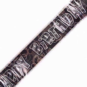 9FT BLACK GLITZ B/DAY FOIL BANNER