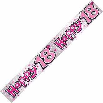HAPPY 18TH PINK 9FT BANNER