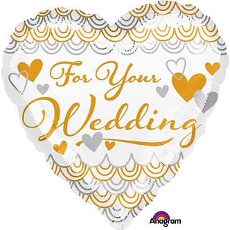 FOR YOUR WEDDING HEART 18IN FOIL
