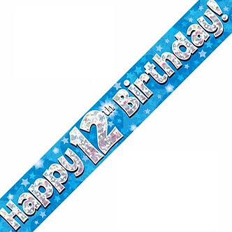 9FT 12TH BIRTHDAY BLUE BANNER