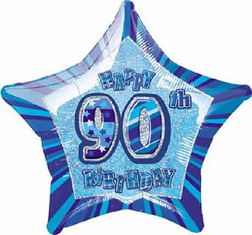BLUE GLITZ 90TH 20IN FOIL BALLOON