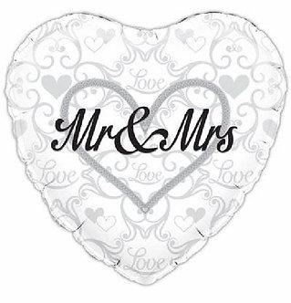 MR & MRS 18IN FOIL BALLOON