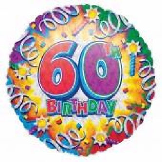 18IN 60TH B/DAY FOIL BALLOON