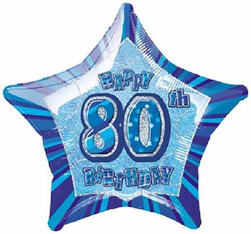 BLUE GLITZ 80TH 20IN FOIL BALLOON