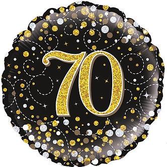 70TH SPARKLING FIZZ BLACK AND GOLD FOIL