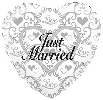 18IN JUST MARRIED FILIGREE FOIL