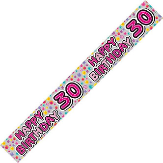 9FT 30TH B/DAY FEMALE HOLO BANNER
