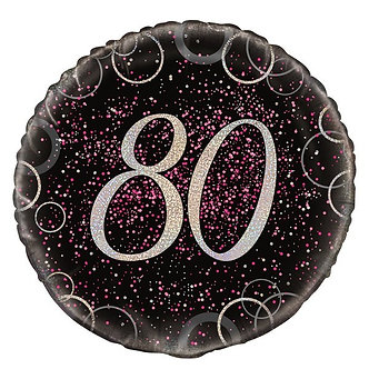 18IN PINK PRISMATIC 80TH FOIL BALLOON
