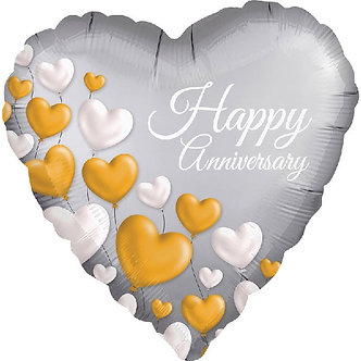 18IN ANNIVERSARY PLATINUM HEARTS FOIL