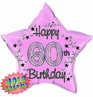 22IN 60TH PINK FOIL BALLOON