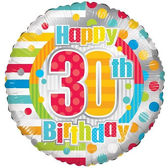 18IN UNISEX HAPPY 30TH BIRTHDAY FOIL