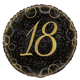 18IN GOLD PRISMATIC 18TH FOIL BALLOON
